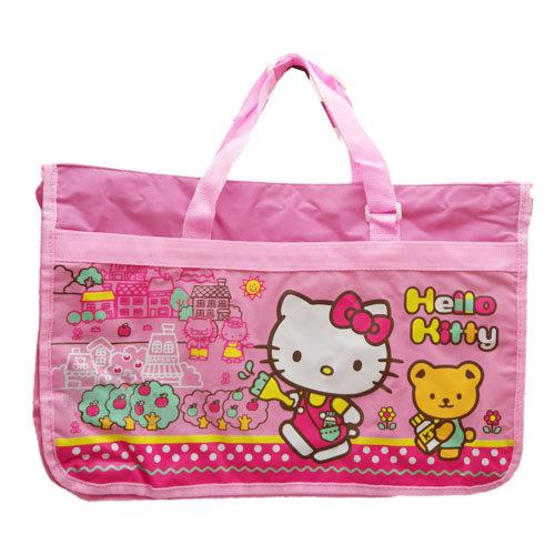 【唯愛日本】13072200019 補習提袋-KT上學粉 三麗鷗 Hello Kitty 凱蒂貓 學藝袋 參考書提袋