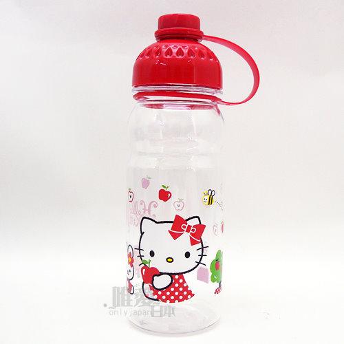 【真愛日本】13082100001 曲線冷水壺-側坐紅結蘋果 三麗鷗 Hello Kitty 凱蒂貓 運動水壺 正品 手提 休閒