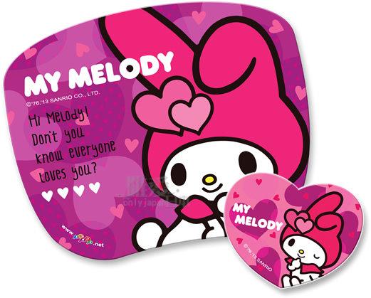 【唯愛日本】13121700030 高彈性子母型滑鼠墊-MM愛心 三麗鷗家族 Melody 美樂蒂 電腦週邊用品