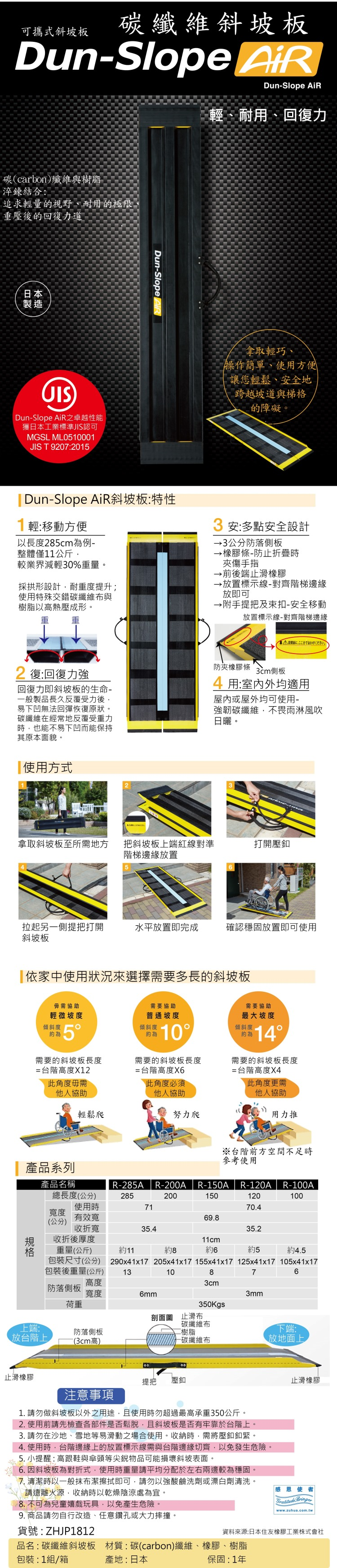 碳纖維材質,又輕又耐重,可折疊收納、攜帶移動,日本製斜坡板,日本折疊式斜坡板