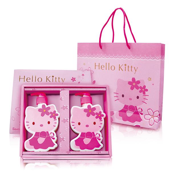 【Aguchi 亞古奇】☆Hello Kitty☆ 凱蒂貓櫻花造型SPA 洗沐禮盒(1洗髮1沐浴)