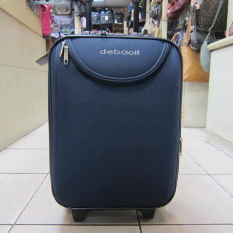 ~雪黛屋~DEBAOLI 16吋 登機行李箱可加大容量單向雙併輪附鎖設計超輕防水硬式邊殼輕巧平穩 #4074 素面藍