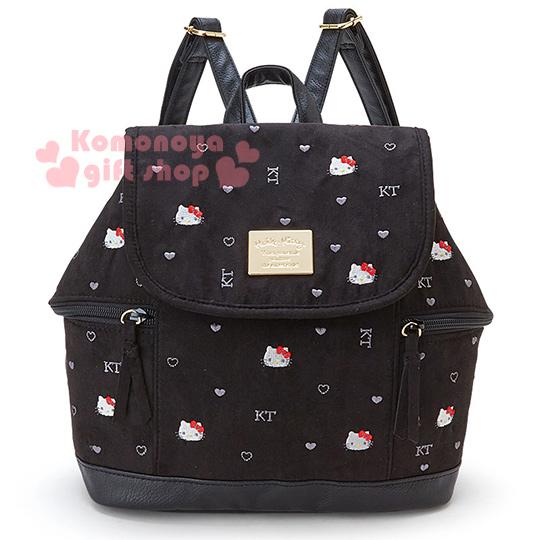〔小禮堂〕Hello Kitty 麂皮後背包《刺繡.黑.大臉.愛心》完整收納大容量