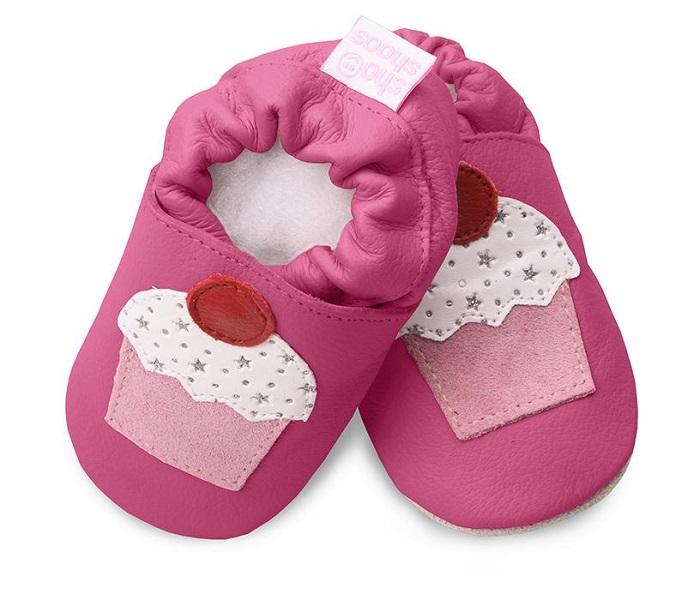 【HELLA 媽咪寶貝】英國 shooshoos 安全無毒真皮手工鞋/學步鞋/嬰兒鞋 桃紅杯子蛋糕(公司貨)