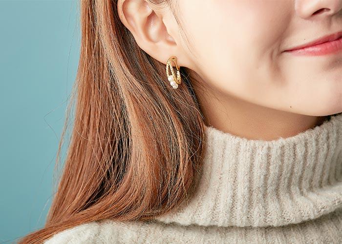 韓國飾品,珍珠耳環,圓圈造型耳環,貼耳耳環,夾式耳環