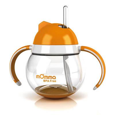 【悅兒樂婦幼用品?】mOmma 吸管防滲漏不倒翁雙把手學習水杯-橘色