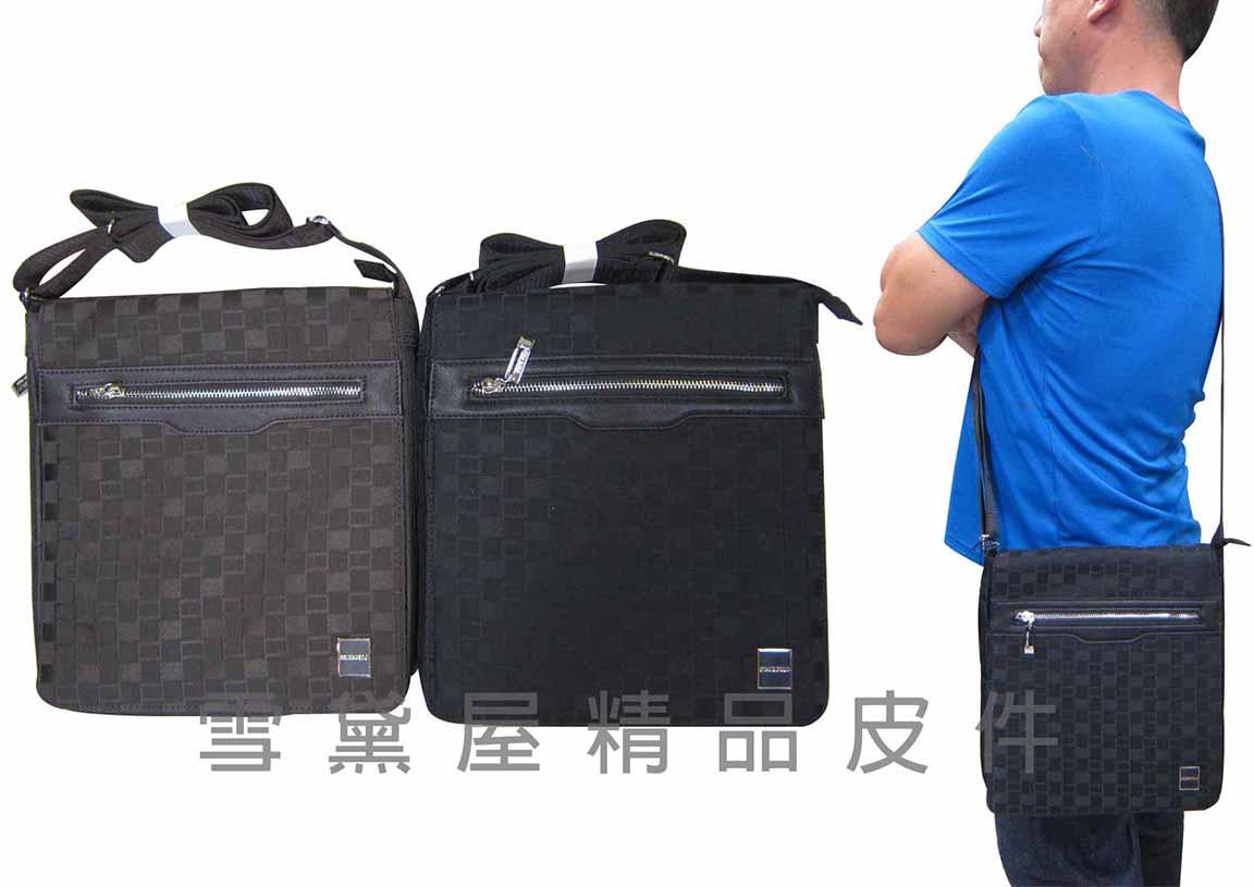 ~雪黛屋~STATE-POLO 肩側包可14吋電腦底部加大容量隨身物品可肩背可斜側背防水尼龍布+皮革 014-1609