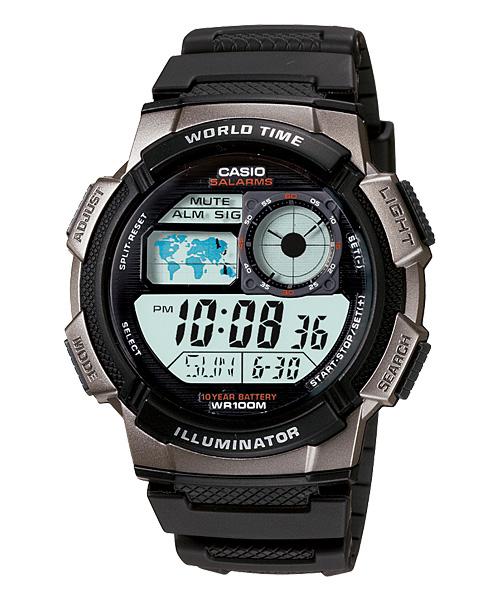 CASIO G-SHOCK AE-1000W-1B經典地圖數位腕錶/44mm