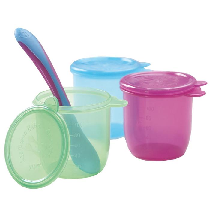 【HELLA 媽咪寶貝】英國 JoJo Maman BeBe 嬰幼兒副食品外帶盒三入組(搭配一隻小湯匙) (JJPWW-01)