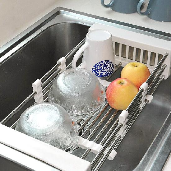 ?MY COLOR?不鏽鋼瀝水收納架 餐具 碗碟 盤子 廚房 水槽 衛生 乾淨 置物 瀝乾 拉開【G50】
