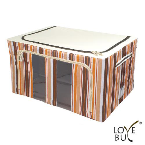 【Love Buy】時尚條紋雙開口鐵架衣物收納箱80L(一入)(2色任選)