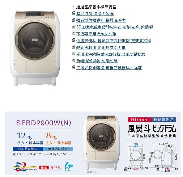 (贈2000元商品卡+好禮) 鍾愛一生 日立 12KG 變頻滾筒洗脫烘洗衣機SFBD2900W左開另售SFBD2900W.SFBD2900WR.SFSD3100W.SFSD3100WR.SFBD390..