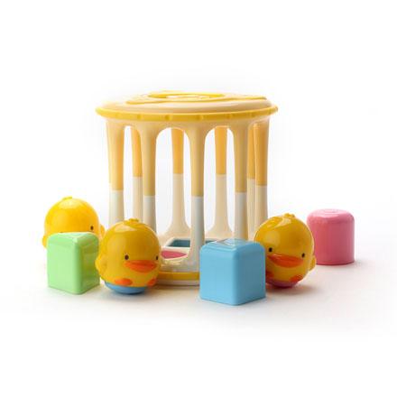 【悅兒樂婦幼用品?】Piyo 黃色小鴨 造型積木滾桶