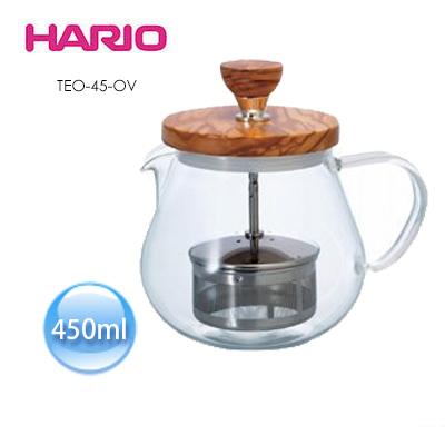 【HARIO】橄欖木濾壓茶壺450ml / TEO-45-OV