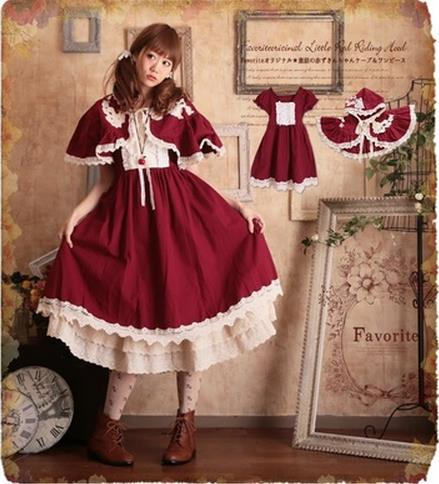 滿700再折$100 [愛麗絲公主]日本森紅帽勾花蕾絲披肩洋裝 - 御聖願