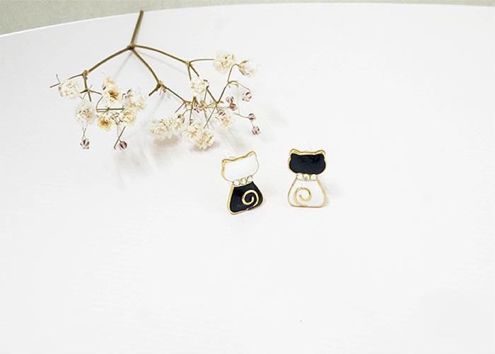 韓國耳環,夾式耳環,耳夾,矽膠夾式耳環,不對稱耳環,童趣耳環,貓咪耳環,可愛耳環