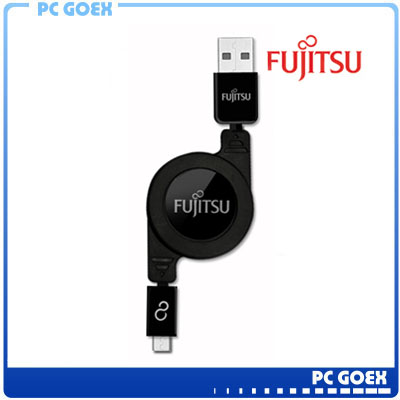 FUJITSU富士通MICRO USB收捲式傳輸充電線(黑)