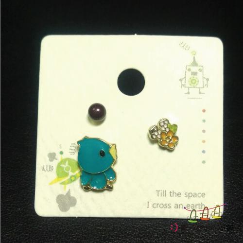 飾品耳環手鍊-可愛小小耳環-藍小雞食米