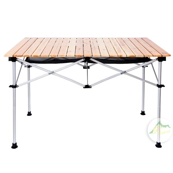 【露營趣】中和 GO SPORT 92348-OT 六人木捲桌 原木色二段高低 蛋捲桌 休閒桌 摺疊桌 燒烤桌 茶几