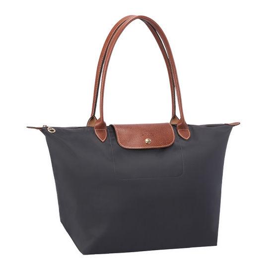 [長柄M號]國外Outlet代購正品 法國巴黎 Longchamp [1899-M號] 長柄 購物袋防水尼龍手提肩背水餃包 槍灰色