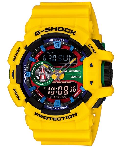國外代購 CASIO G-SHOCK GA-400-9A 雙顯大錶面 運動防水手錶腕錶電子錶男女錶 樂高黃