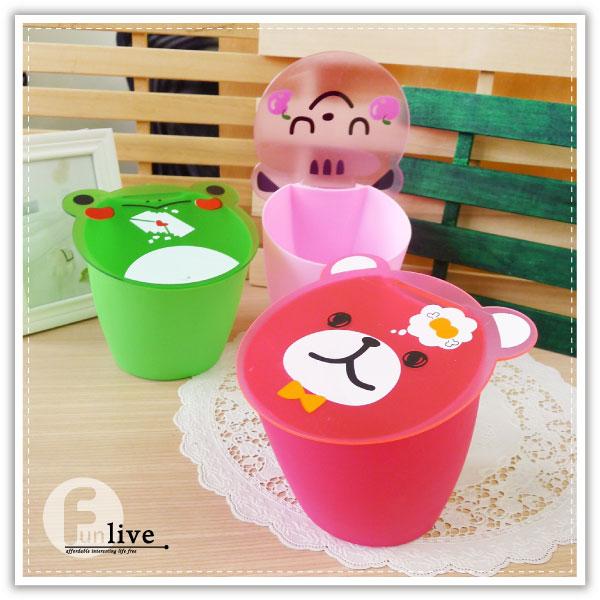 【aife life】動物掀蓋式收納桶-小/日韓動物收納桶/置物桶/桌上型垃圾桶/筆筒/收納盒/車用垃圾筒