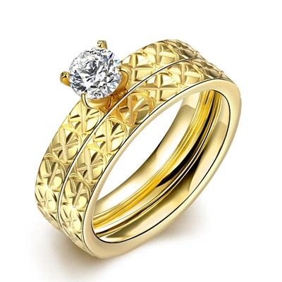 鈦鋼戒指鑲鑽美式戒飾-雙層精美璀璨套戒情人節生日禮物男飾品73le185【獨家進口】【米蘭精品】