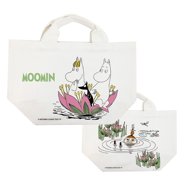 Moomin嚕嚕米正版授權 - 托特包:【 蓮花池邊的嬉戲 】