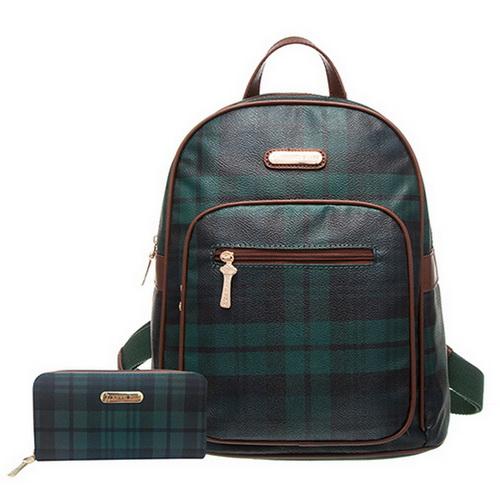 【XINWEI POLO】經典綠格後背包+皮夾-141031