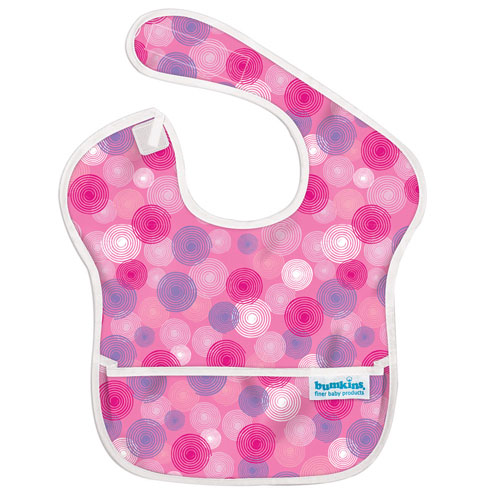【淘氣寶寶】2016年最新 美國Bumkins防水兒童圍兜(一般無袖款6個月~2歲適用)-粉波紋 【保證公司貨】