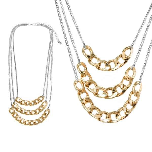 【摩達客】時尚多層鏈條造型金銀色項鍊