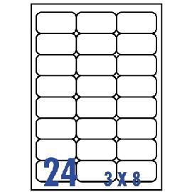 UNISTAR 裕德 白色電腦標籤 US4262【(3x8)24格圓角 20張/包】雷射/噴墨/影印三用