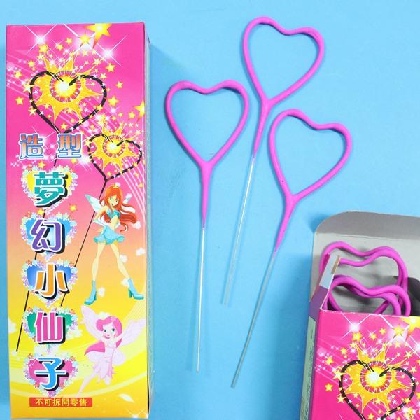 心型彩色仙女棒 心型仙女棒童玩 長約16cm/一小盒10支入{定100}