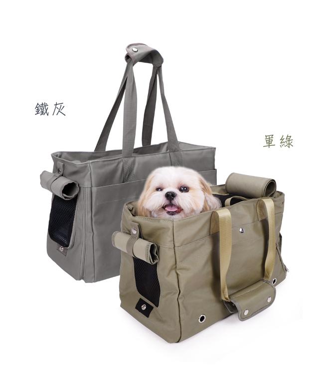 《IBIYAYA 依比呀呀》簡約寵物帆布包FC1428 - 軍綠色 / 鐵灰色 / 寵物包