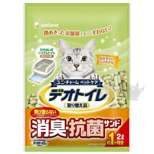 《日本Unicharm優尼兒》消臭抗菌貓砂 - 條砂2L x 8包