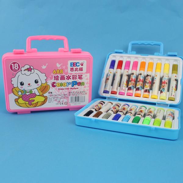 可水洗18色彩色筆 688 芭比貓手提18色繪畫水彩筆/一盒入 特[#69]~萬