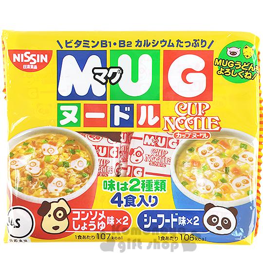 〔小禮堂〕日本原產 日清NISSIN 馬克杯麵《4入.94g.袋裝》清湯醬油.海鮮味