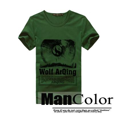 ★組合-任2件288元★ManStyle潮流嚴選【R9B0188】韓系WOLF印象狼軍綠色設計圖案短袖T恤上衣男