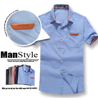 ☆ManStyle☆【01C1416】學院格紋內裡摺袖皮標口袋短袖素面襯衫男。日韓都會時尚