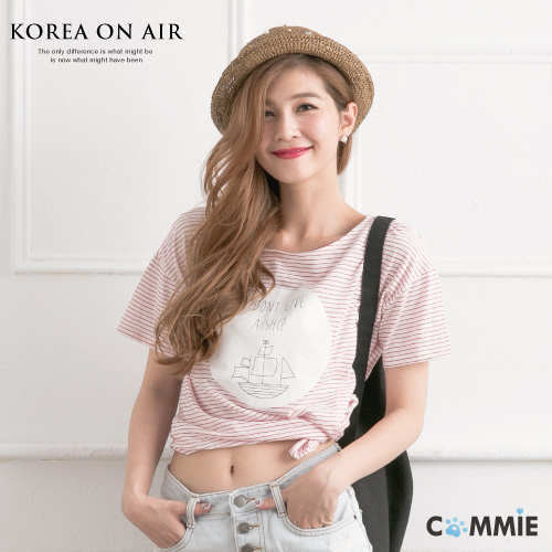 上衣-正韓海洋風橫條紋圓領短版T恤.寶貝窩.【KR-ST0062】