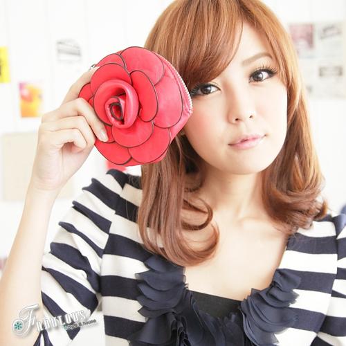 ☆Fabulous☆華耀冬季【LP7255】歐法名品時尚風玫瑰花造型皮革零錢包鑰匙包(可當包包吊飾)