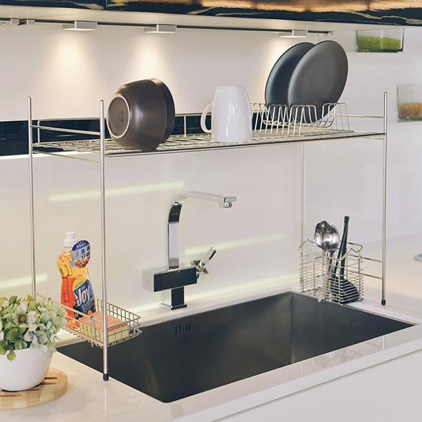 廚房收納 碗盤架 瀝水架【D0085】不鏽鋼跨海大橋伸縮瀝水槽架 MIT台灣製 完美主義