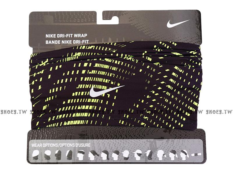 Shoestw【AC3982-054】NIKE 運動頸套 百變頭巾 保暖保護 黑螢光綠格紋