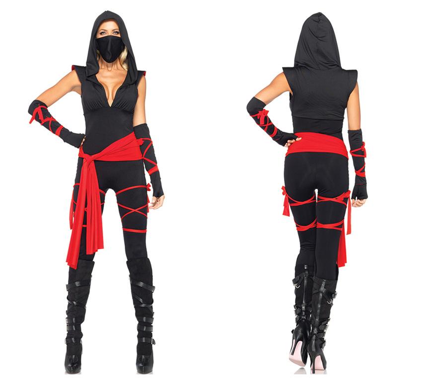 Ninja蒙面女裝萬聖節角色扮演性感海盜服黑色女忍者服halloween