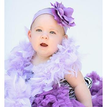 【HELLA 媽咪寶貝】 美國Jamie Rae 100%純棉髮帶 薰衣草紫寬髮帶+薰衣草紫玫瑰 (JRHBR02)