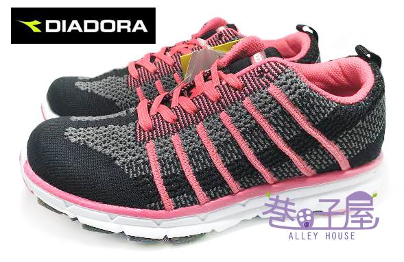【巷子屋】義大利國寶鞋-DIADORA迪亞多納 女款編織跑鞋 [2013] 黑粉 MIT台灣製造 超值價$690