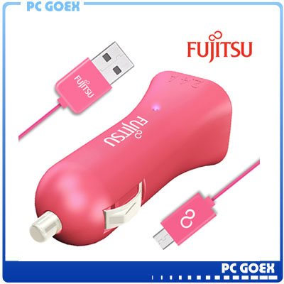 富士通FUJITSU雙USB車用充電器 (UC-01)粉紅