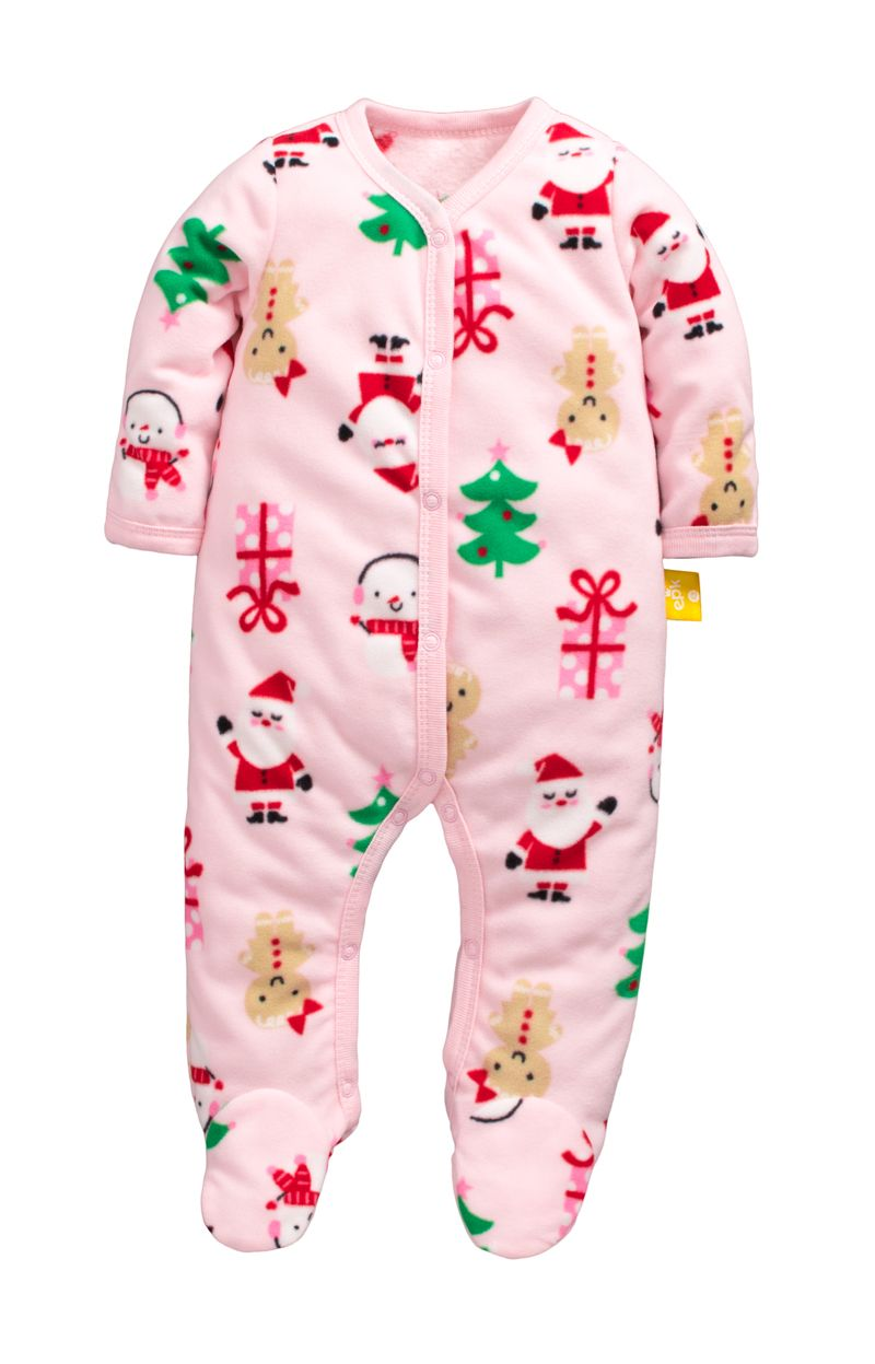 ☆傑媽童裝☆冬款保暖搖粒絨包腳包手連身衣-粉底聖誕【20111-7】