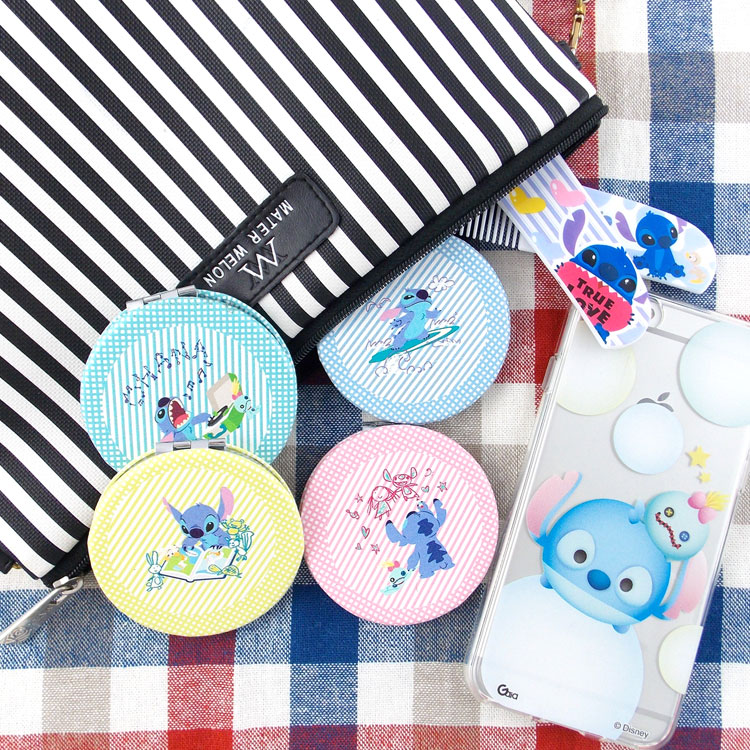 【Disney 】可愛圓形雙面折疊鏡/化妝鏡/隨身鏡-史迪奇