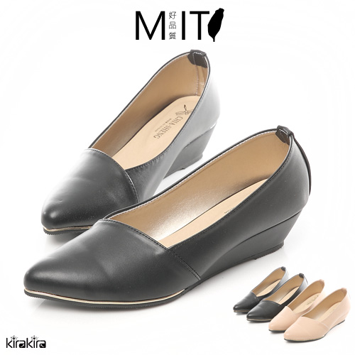 MIT小金邊斜口微尖頭楔型跟鞋-預購